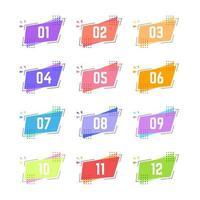 punti elenco rettangolo geometrico colorato da uno a dodici vettore