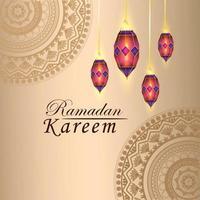 festival islamico di ramadan con lanterna vettore