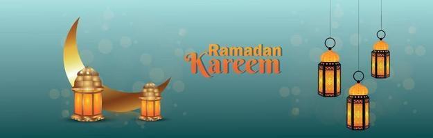 banner creativo di ramadan kareem con lanterna dorata vettore