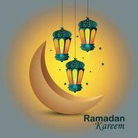 biglietto di auguri di ramadan kareem e sfondo con lanterna ramadan vettore
