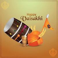 felice celebrazione vaisakhi sfondo con tamburo creativo ed elementi vettore