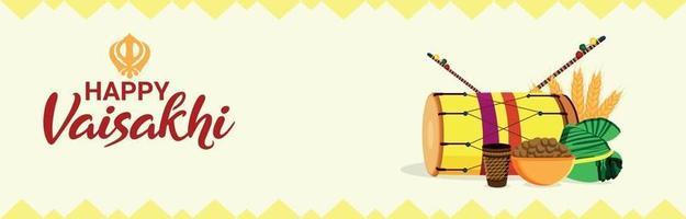 felice illustrazione piatta vaisakhi o banner vettore