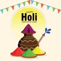 felice sfondo di celebrazione del festival indiano di holi vettore