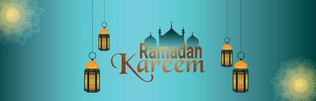 felice banner o intestazione di ramadan kareem vettore
