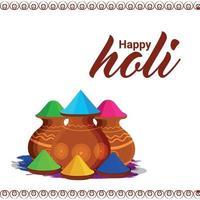 felice holi design piatto indiano festival indù sfondo vettore