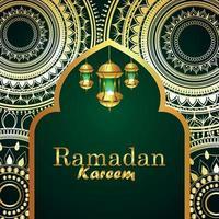 biglietto di auguri ramadan kareem o eid mubarak con lanterna creativa vettore