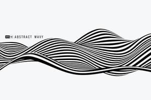 fondo astratto della copertura dell'elemento del modello ondulato della linea della banda in bianco e nero astratto. illustrazione vettoriale eps10