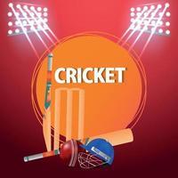 partita di torneo di cricket con sfondo stadio vettore