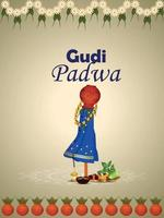 gudi padwa sullo sfondo del festival dell'India meridionale vettore