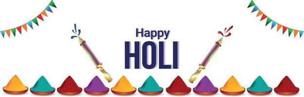 biglietto di auguri o poster festival indiano felice holi con vaso di colori vettore