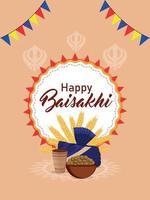 poster di celebrazione felice vaisakhi vettore