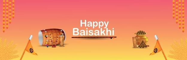 banner o intestazione del festival sikh vaisakhi vettore