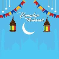 biglietto di auguri piatto ramadan kareem o eid mubarak vettore