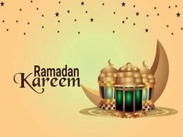 sfondo di celebrazione di ramadan kareem con lanterna islamica e luna vettore