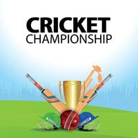 illustrazione del campionato di cricket con attrezzatura da cricket