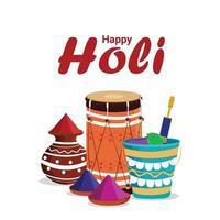 felice festival colorato di holi con pentola e ciotola di fango gulal vettore