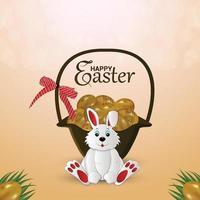 felice giorno di pasqua simpatico coniglietto con uova colorate vettore