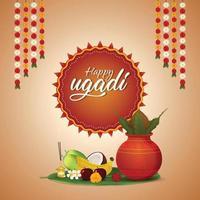 illustrazione della celebrazione di gudi padwa della cartolina d'auguri dell'india vettore