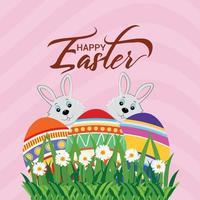 biglietto di auguri di buona Pasqua con coniglietto di Pasqua e uovo di Pasqua vettore