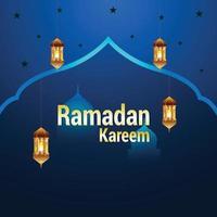 festival islamico piatto di ramadan kareem con lanterne creative vettore
