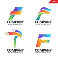 raccolta modello di progettazione logo lettera iniziale f colorato vettore