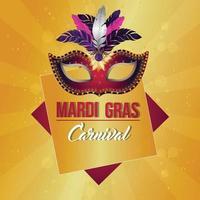 biglietto di auguri festa di carnevale con maschera creativa con piuma e sfondo vettore