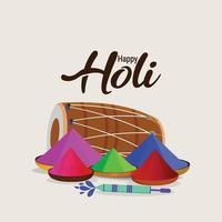 felice festival holi hindua con tavola a colori e tamburo vettore