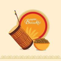 biglietto di auguri piatto vaisakhi e modello con illustrazione e tamburo vettore