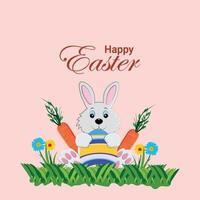 coniglietto di Pasqua piatto e uova colorate con carota ed erba verde vettore