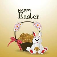biglietto di auguri creativo di felice giorno di pasqua con coniglietto di pasqua e uovo vettore