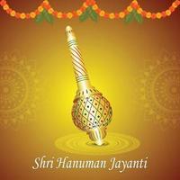 biglietto di auguri hanuman jayanti con arma e sfondo lord hanuman vettore
