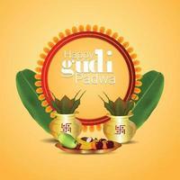 sfondo di celebrazione del festival tradizionale indiano gudi padwa vettore