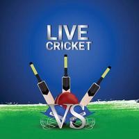 campionato dal vivo con attrezzatura da cricket e stadio vettore