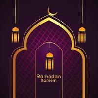 design islamico di ramadan kareem con lanterna dorata e sfondo vettore