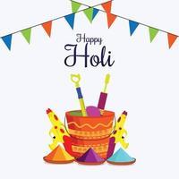 vaso di fango colorato con gulal colorato e dhol 0 di sfondo felice festival indiano di holi vettore