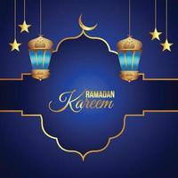 lanterna dorata e luna di ramadan kareem vettore