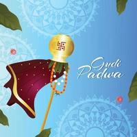 felice biglietto di auguri gudi padwa e sfondo con bambù tradizionale e kalash vettore