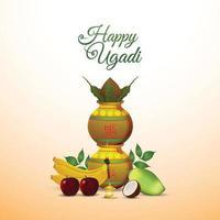 felice celebrazione ugadi o gudi padwa biglietto di auguri e sfondo vettore