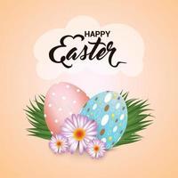 uovo di Pasqua colorato creativo con sfondo di erba verde vettore