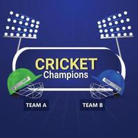 sfondo di torneo di cricket con casco da giocatore di cricket vettore