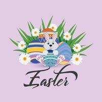sfondo di giorno di pasqua con uova di Pasqua colorate creative e coniglietto di pasqua vettore