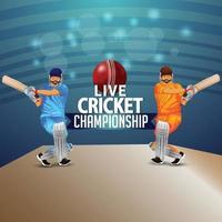 illustrazione del giocatore di cricket con palla rossa e lo sfondo dello stadio vettore