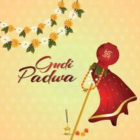 gudi padwa kalash tradizionale con sfondo creativo vettore