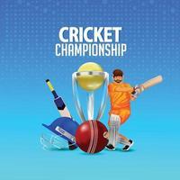 illustrazione vettoriale del campionato di cricket con casco da cricket e trofeo