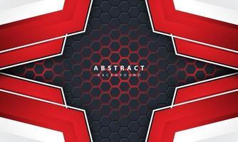 Fondo esagonale della luce rossa astratta 3d con le forme del telaio rosso e bianco. vettore