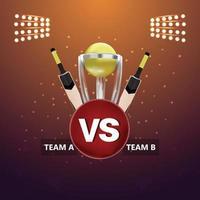 trofeo d'oro della lega di cricket con mazze creative e trofeo d'oro vettore