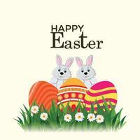 felice giorno di pasqua con uova di pasqua colorate e coniglietto di pasqua vettore