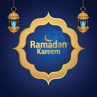 lanterna dorata araba del festival islamico di ramadan kareem vettore