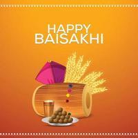 sikh festival felice vaisakhi con illustrazione vettoriale e sfondo