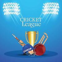 torneo di campionato di cricket con attrezzatura da cricket vettore